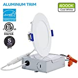 10W 4'' Ultra-thin Recessed Ceiling Light with Junction Box, Dimmable Can-Killer Airtight Downlight, 650lm 80W Equivalent ETL-listed and Energy Star Certified, 4000K Cool White