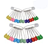 CUGBO 200 Counts Baby Nappy Pins Plastic Head Baby Safety Pins Cloth Diapers Pins Safety Hold Clip Locking Bib Nappy Pins Assorted Color