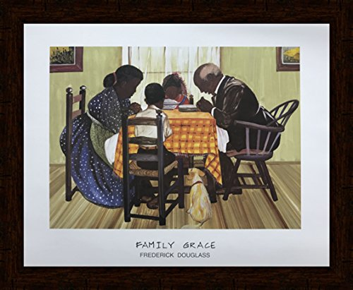 US Art Distressed Mohagany 1.5 inch Framed with FAMILY GRACE (RELIGIOUS/AFRICAN AMERICAN BLACK ART/PRAYER/KITCHEN) Artist FREDERICK DOUGLASS 16x20 Black Art Print Poster (2- M - 31B) ()