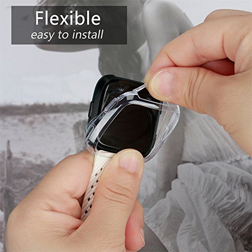 Voberry- Compatible Fitbit Versa Case TPU Plated Screen Protector Rugged Cover [Scratch-Proof] All-Around Protective Bumper Shell Compatible Fitbit Versa Smartwatch (Clear) by Voberry- (Image #4)