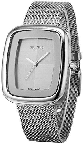 Ladies Mens Square Case Analog Display Quartz Silver Stainless Steel Mesh Bracelet Luxury Watch (Silver)
