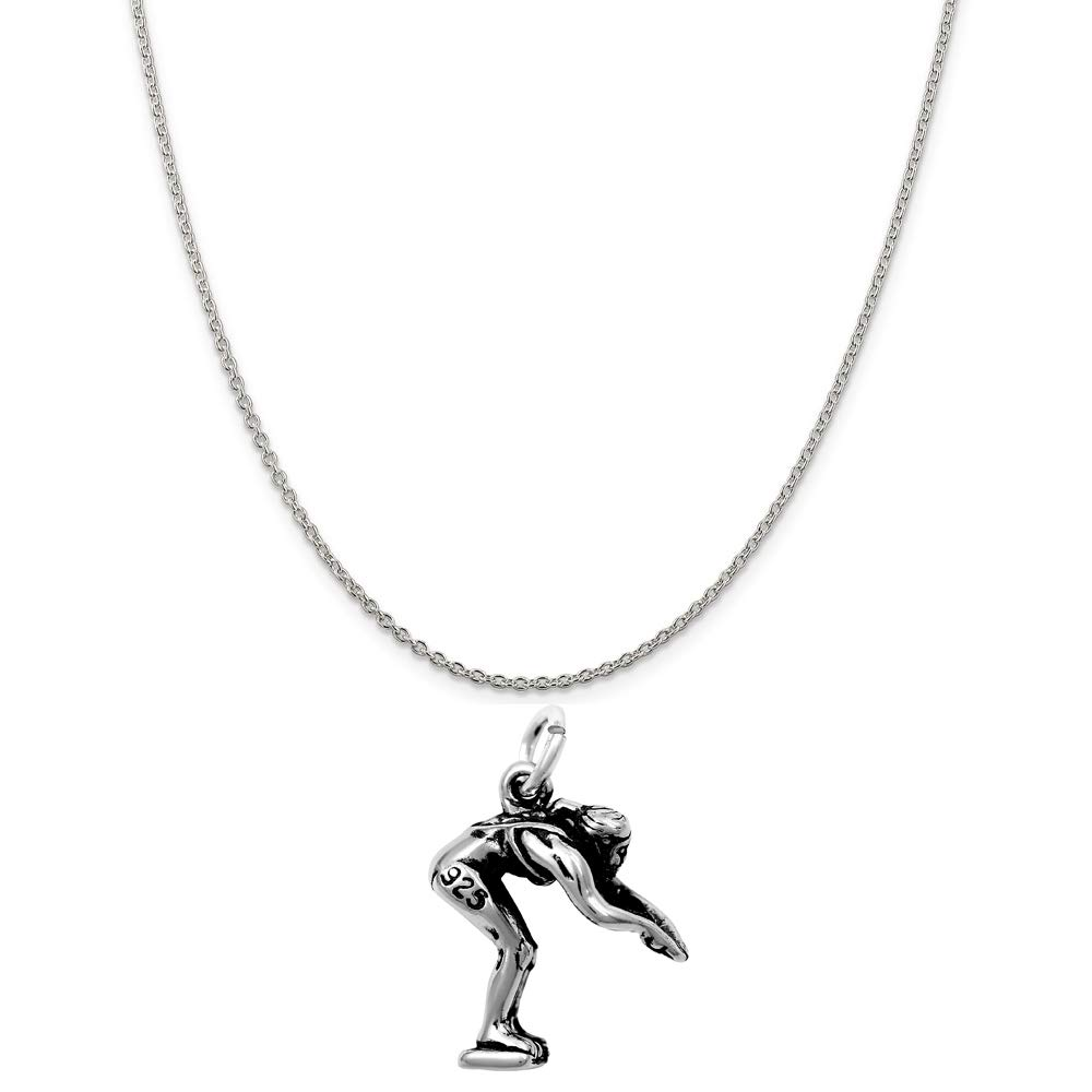 16, 18 or 20 Chain Raposa Elegance Sterling Silver 3D Diving Swimmer Charm Necklace