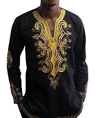 XARAZA Men's Long Sleeve African Dashiki Longline T-Shirt Autumn Blouse Tops