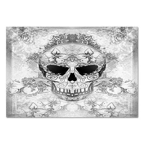 Large Paisley Wallpaper - Large Wall Mural Sticker [ Day of The Dead Decor,Skull with Oriental Paisley Decor Festive Celebration Print,Light Grey and White ] Self-Adhesive Vinyl Wallpaper/Removable Modern Decorating Wall Art