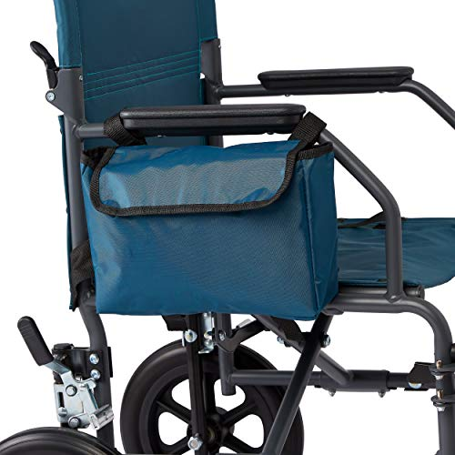 Medline Side Bag for Transport Chair, Waterproof Accessory Bag for Transport Wheelchairs is Made of Durable Nylon Material, Teal