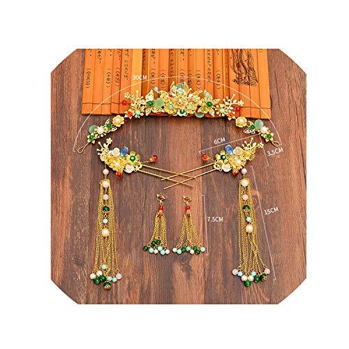 (Long Headdress Earrings Sets Chinese Style Bride Tiara Headdress Wedding Hair Decoration Women Wholesale)