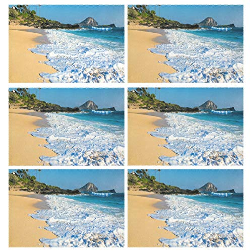 Cocoa trade Heat Resistant Placemats for Kitchen Table Mats Dining Room,Hawaii Beach Foam Washable Insulation Non Slip Placemat 12x18 inch(6 pcs)