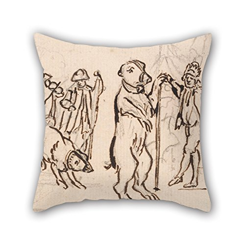 Slimmingpiggy 16 X 16 Inches / 40 By 40 Cm Oil Painting Paul Sandby - Musicians And A Performing Bear Throw Cushion Covers 2 Sides Is Fit For Home Theater Dance Room Teens Teens Dining Room