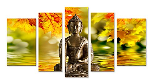 - Funpark Framed Modern Buddha Print on Canvas Yellow and Green 5 Panels Wall Art Painting Stretched Pictures
