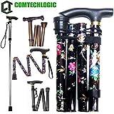 comtechlogic cm-4003 Ajustable Plegable Metal Plegable bastón Viaje Uso Plegable senderismo stick - Floral Negro