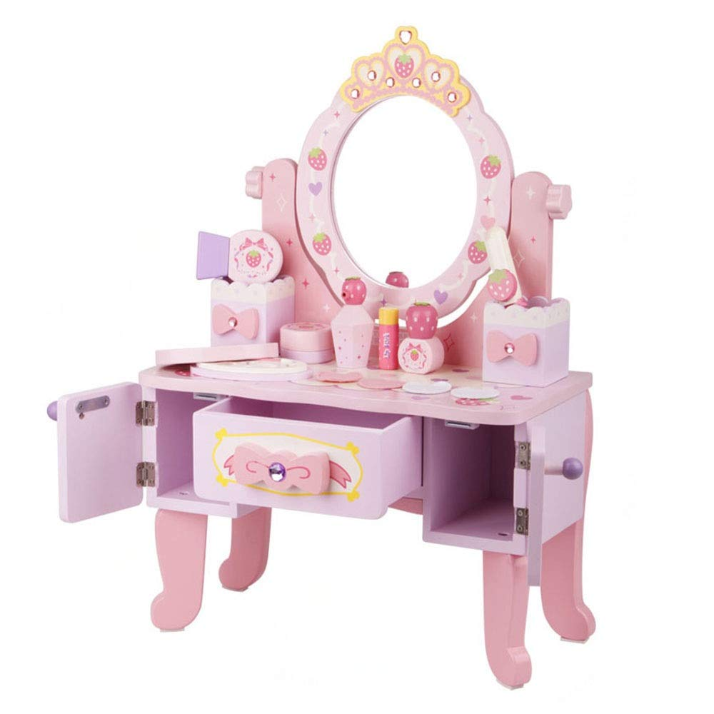 Girls Dressing Table Set Vanity Makeup Table and Chair Set Pretend Beauty Make Up Stool Play Set for Children Pink with Mirror (Color : Pink, Size : 752241cm)