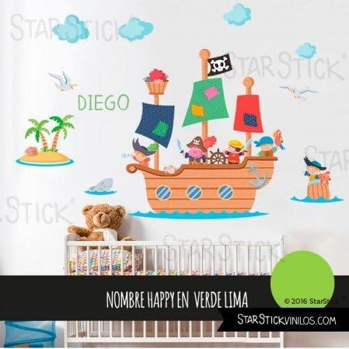 StarStick - Gran barco pirata 100x55 cm- Vinilos infantiles - T1 - Pequeño: Amazon.es: Bebé