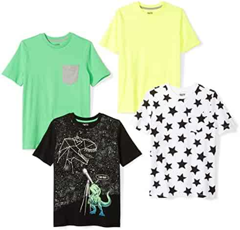 Amazon Brand - Spotted Zebra Boys' Toddler & Kids 4-Pack Short-Sleeve T-Shirts