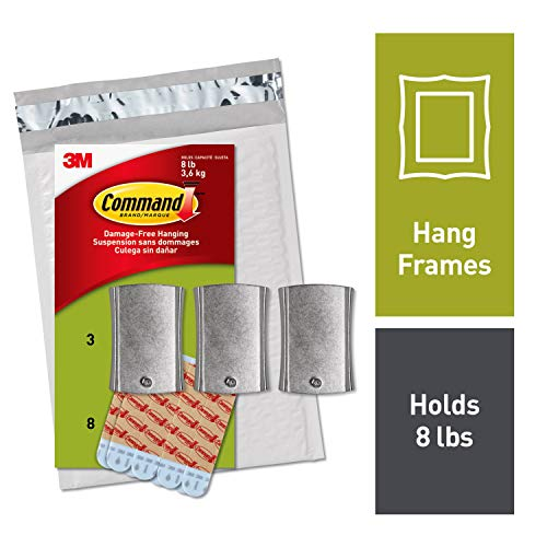 Command Universal Picture Hangers, Holds 8 lbs, Jumbo, Indoor Use, White, Decorate Damage-Free (PH048-3NA)