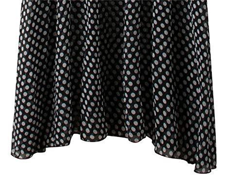 Sexy Hors Lizes Robe de de et Mousseline Gilet Pois Black Mince Robe Robe Mode paule en Soie de sans Manches Vague Mode de q8fA8Enr
