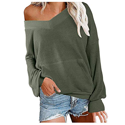 KLFGJ Women Casual Sweatshirt Off Shoulder Long Sleeve Shirt V-Neck Tops Solid Color Pullover Cold Shoulder Clothing ()