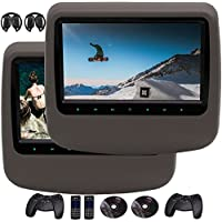 Pair 9 Inch Headrest DVD Player support HD 1080P Video LCD Screen DVD Headrest Monitor Backseat DVD/CD/USB Player with HDMI Port and Remote Control and Cigar Lighter Charger and Wall Charger Removable