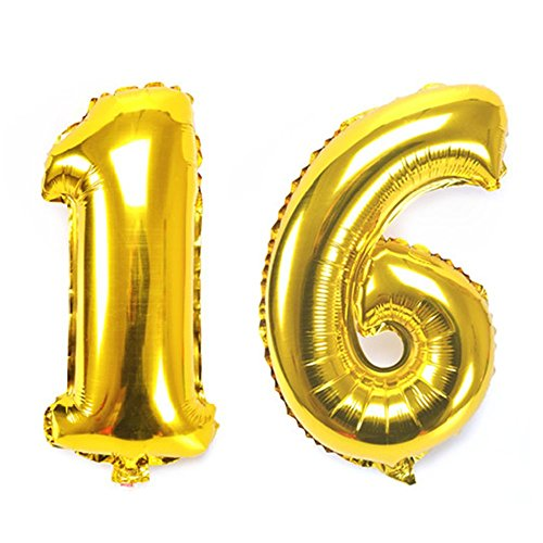 B-G 40 Inch Large Gold Number 16 Balloons Aluminum Film Balloons Decorations for 16th Birthday Party Independence Day BA015