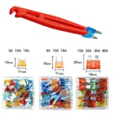 FOSHIO Car Truck Fuse Set Include ATM APM ATC Blade Style 5A 10A 15A 20A 30A 40A Low Profile Mini and Small Fuse with Fuse Clip