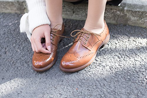 f72a7913837369 Oxford Shoes for Women Womens Oxfords Wingtip Women Oxford Wingtip Black  Dress Flat Brown Laces Leather Casual Wing Suede Vintage Shoes Oxford E208  (8 B(M) ...