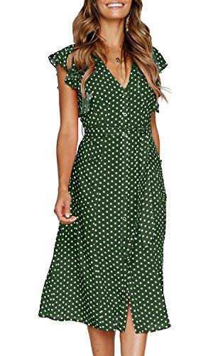 MITILLY Women's Summer Boho Polka Dot Sleeveless V Neck Swing Midi Dress with Pockets Large Green