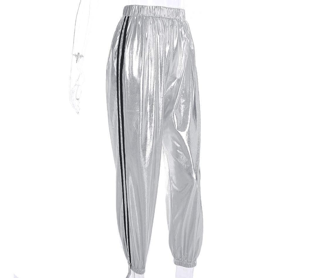 Greetuny Pantalones Reflectantes Mujer Chandal Casual Jogging Moda Pantalones Chandal Mujer Tiro Alto Personalidad Adolescente Pantalones Anchos Hip Hop Mujer