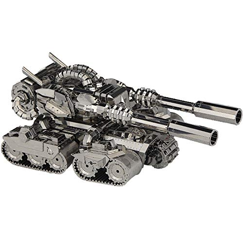 juler 3D Rompecabezas 3D montado en Metal Modelo niños DIY Rompecabezas Jigsaw policía Rojo Tanque de apocalipsis,Plata,Un...
