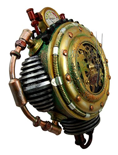"""Ebros Gift Steampunk Pressure Chamber with Painted Clockwork and Gearwork Decorative Wall Clock Figurine 11"""" H Time Clocks Home Decor Accessory Victorian Science Fiction Sci Fi Halloween Time Prop 5"""