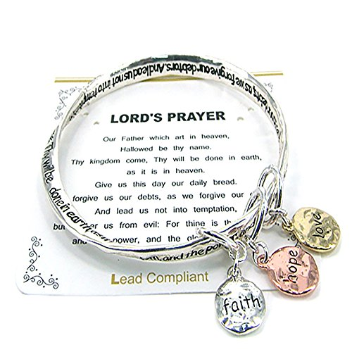 Emulily Lord's Prayer Twist Bangle Faith Hope Love Inspirational Charm Bracelet