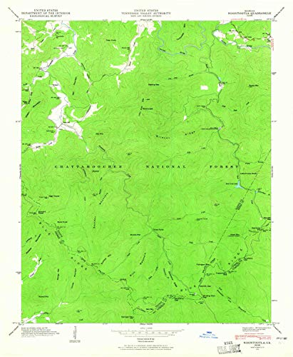 YellowMaps Noontootla GA topo map, 1:24000 Scale, 7.5 X 7.5 Minute, Historical, 1946, Updated 1965, 26.9 x 22.1 in - Paper