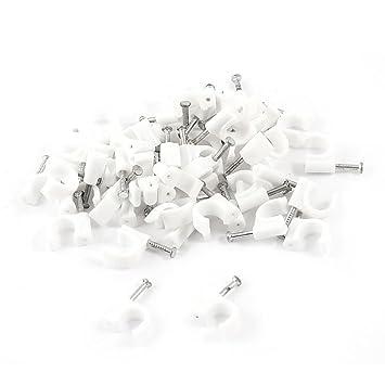 50 piezas 0,79 cm 8 mm de círculos con Cable pinzas cierre w clavos de pared