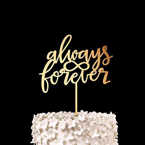 script-always-forever-cake-topper-wood-rustic-wedding-decor-bridal-shower-gift-anniversary-party-fav