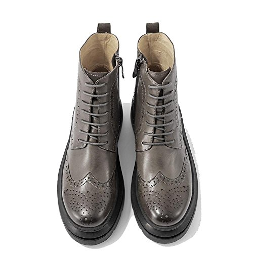 heel block Lined 40 Flat Leather Ladies Hollow Casual Ankle GRAY shoelace Shoes Boots Comfort Velvet Plus Warm chunky Thicker 7wwY0Xx