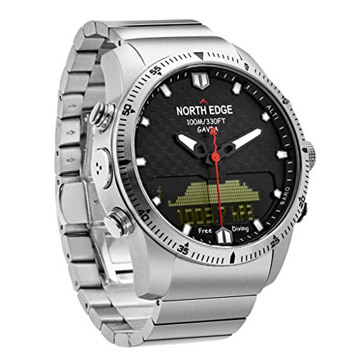 Huangou North Edge GAVIA Diving Business Sports Watches Waterproof Smart Relogio Compass,Diving Watch, Measured Water Depth, Diving time (Silver, 10.5x9x7.5cm)