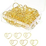 Jetec 100 Pieces 3 cm Love Heart Shaped Small Paper Clips Bookmark Clips for Office School Home (Gold)
