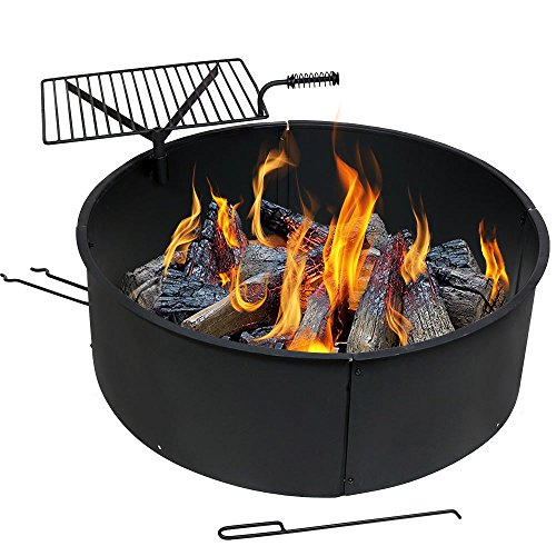 Sunnydaze Heavy-Duty Steel Campfire Ring, 6 mm Thick Steel with Rotating Detachable Cooking Grate, 34 Inch Inside Diameter, 36 Inch Outside Diameter