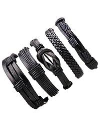 Dog Brother Women Men Rock Bracelet Handmade Braided Leather Rope 6.0-11.0 Inch Adjustable