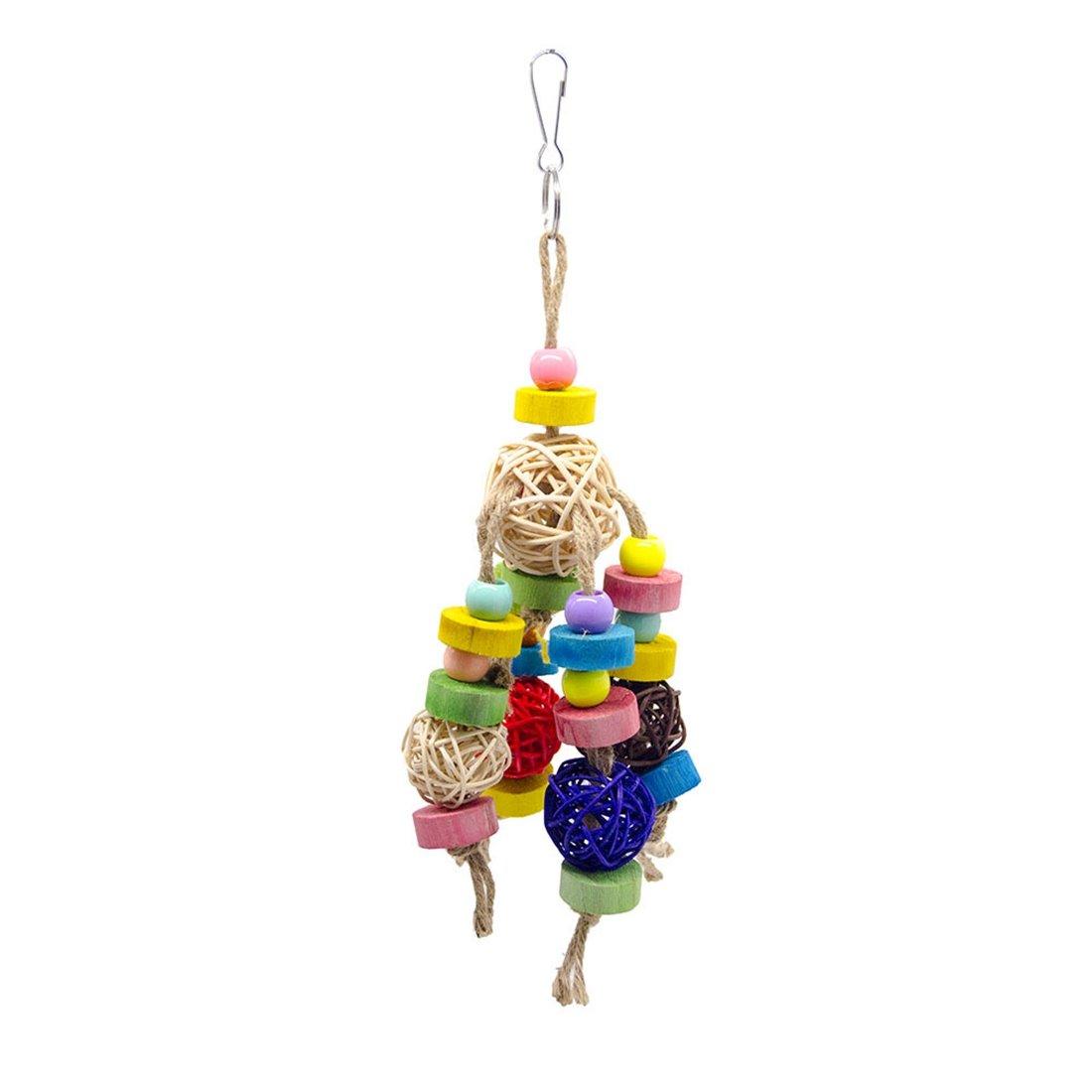 Multicolor 308cm Multicolor 308cm Huayue Parred Toys Biological Sepak Takraw Bird Toy Parreds Chew Bite Toy Cage Accoutrement (color   Multicolor, Size   30  8cm)