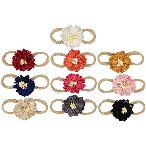(Silky Dahlia Flowers on Nylon Baby Headbands For Newborn and Baby Girls By ZELDA MATILDA - 10 Piece Pack)