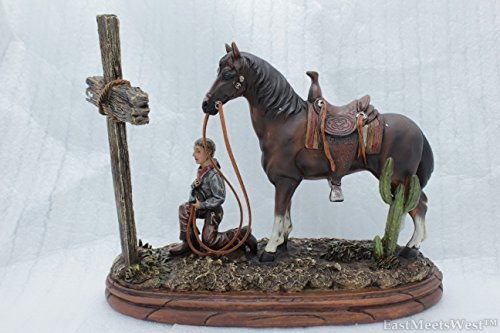 Hand Painted Wood Base - Colors of Rainbow Western Praying Cowboy w Horse Figurine Statue on Wood Base Hand Painted Rustic Life-Like Detailed Home Office Decoration