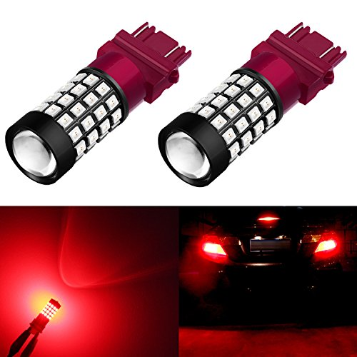 Alla Lighting Extremely Super Bright 3157 3156 3057 3056 T25 LED Bulb Pure Red High Power 2835 51-SMD LED Lights Bulbs for Replacing Turn signal Blinker Brake Stop Tail Light Lamps Replacement