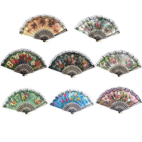 Ahoney 8 Pack Spanish Vintage Fabric Floral Folding Hand Held Fan Flowers Pattern Lace Random Color Handheld Fans for Wedding Dancing Church Party Gifts