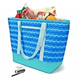 insulated lunch tote zippered - 12 Gallon Insulated Mega Tote Blue Outdoor Picnic Cooler Bag for Camping, Sports, Beach, Travel, Fishing