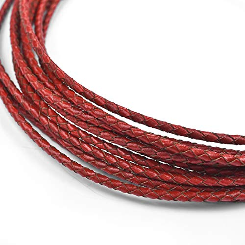 - 3mm Round Leather Cord Folded Bolo PU Braided Leather Cord Bolo Tie for Necklace Bracelet Jewelry Making Red 5 Meters