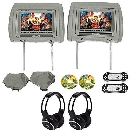 Rockville RVD721-GR 7 Gray Dual DVD/USB/HDMI Car Headrest Monitors+Headphones