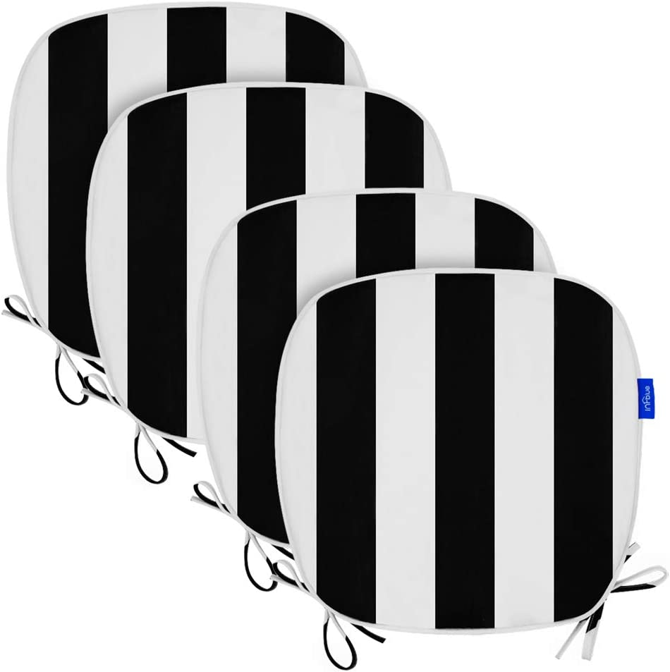 Outdoor Indoor Seat Cushions 16x17 Inch, All Weather Patio Chair Pads U-Shape (Set of 4, Black Stripe)