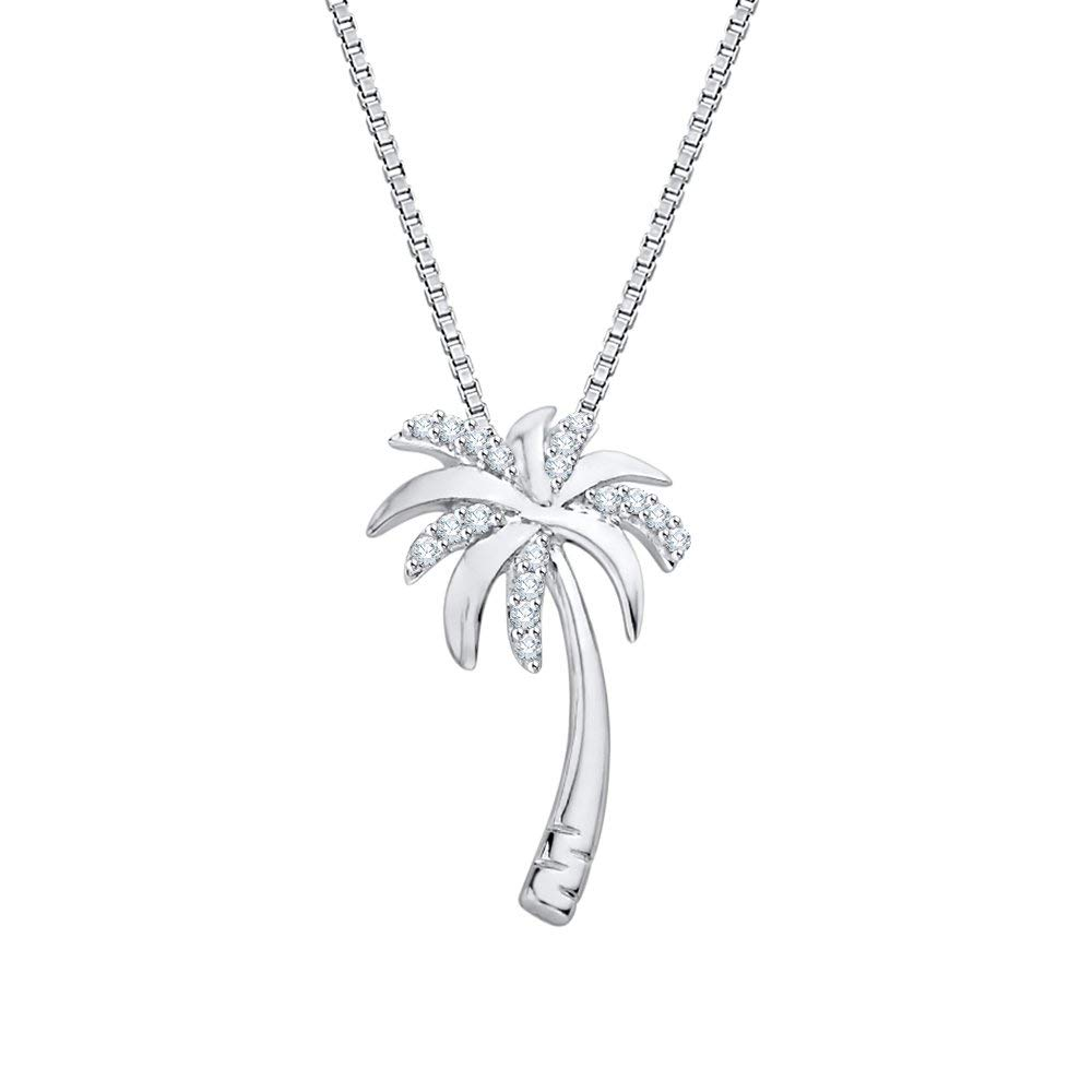 10k Gold or Sterling Silver Round Diamond Box Chain Palm Tree Pendant 1//10 cttw, J-K Color, SI2-I1 Clarity