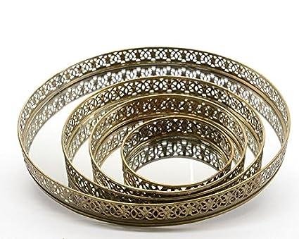 Bandeja de metal Espejo Bandeja decorativa bandeja Espejo Vela Bandeja Redonda Navidad boda oro viejo (