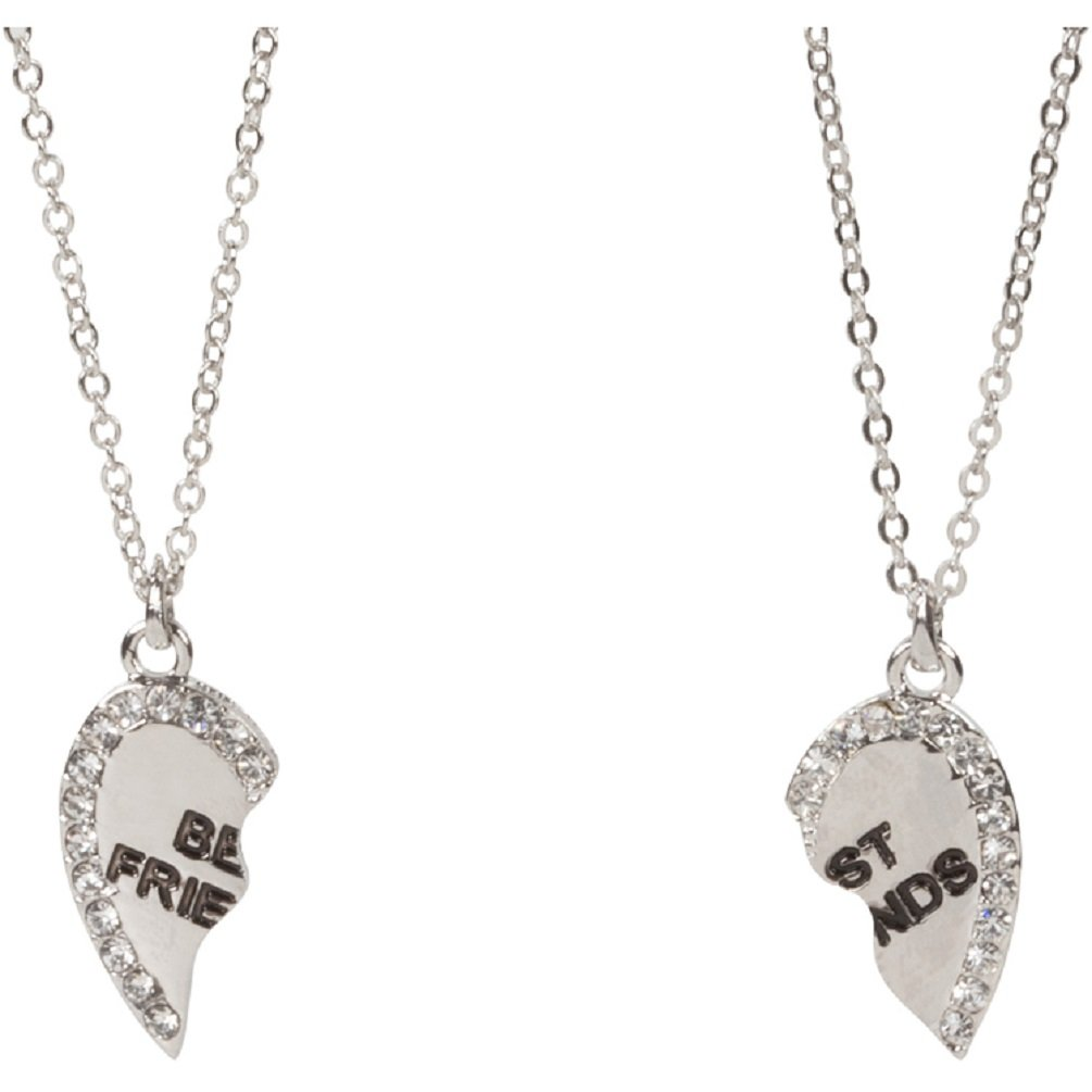 Heirloom Finds Set of 2 Best Friends BFF Heart Pendant Necklaces Crystal and Silver Tone