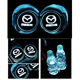 Bearfire Car Logo LED Cup Pad cup holder light USB Charging Mat Luminescent Cup Pad LED Mat Interior Atmosphere Lamp Decoration Light (Mazda)